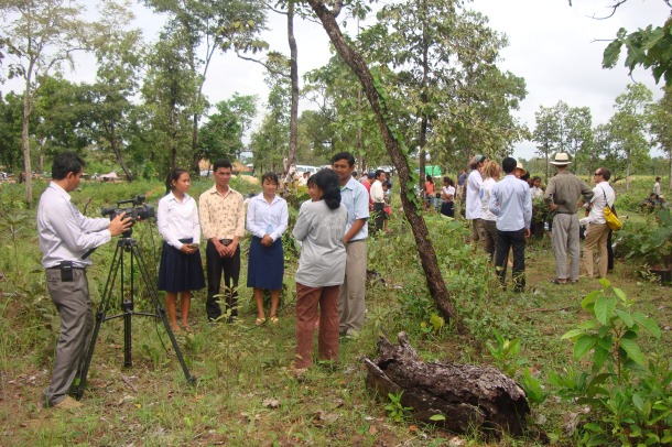 Cambodia National Media interviewing students about their interest in the Community Forest